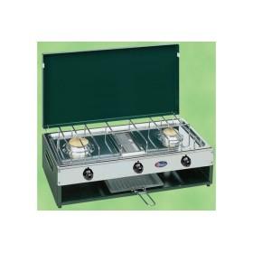 Réchaud à gaz Inox 2 feux + Grill Vert PARKER
